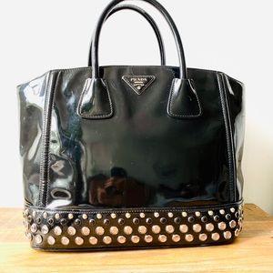 Prada Calf Black Leather Crystal Tote Bag